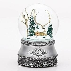 """5.5"""" Cottage w/ Tree Glitter Silver Base Dome Plays~I'll Be Home for Christmas"""
