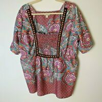 One World Women's Top Size 1X Paisley Short Sleeves Casual Blue Red Pink White