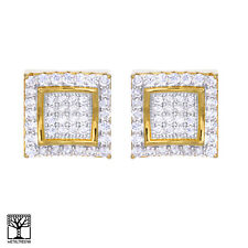 Men's Gold Plated CZ Iced Square 2 Tone Caved Screw Back Stud Earrings BE 001 TT