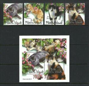 Pitcairn 2002, Pitcairn Cats sg618/21 & MS622 MNH