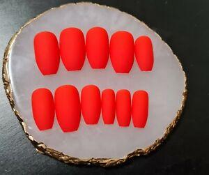 Matte bright red long medium short coffin ballerina Fake False press on Nails