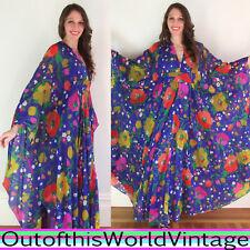 Vtg 60s 70s PURPLE GODDESS sheer draped FLOWER POWER FESTIVAL ANGEL WING DRESS M