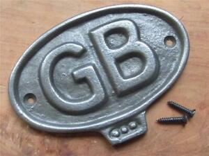 """VINTAGE STYLE SOLID CAST IRON WALL PLAQUE GB GREAT BRITAIN DOOR SIGN 4.5"""" x 3"""""""