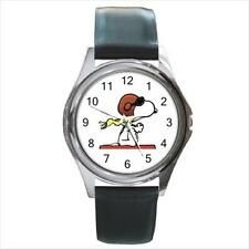 New Pilot Snoopy Dog Silver Tone Leather Band Round Quartz Watch