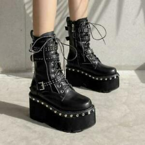 Gothic Women Buckle Rivet Round Toe Platform Motorcycle Ankle Boots Punk Shoes