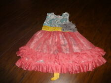 BOUTIQUE GIGGLE MOON GORGEOUS BLUE ORANGE FLORAL DRESS 4T MUSTARD SEED