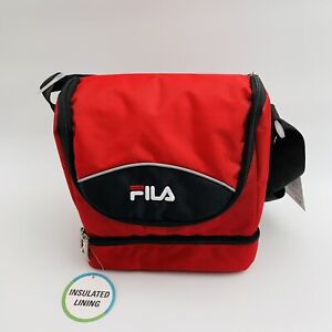 NEW FILA INSULATED COOLER LUNCH BAG TOTE WITH CARRY STRAP BLACK & RED