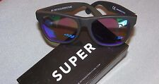 New RetroSuperFuture Super 166 Basic Wayfarer Black/Rainbow Sunglasses #S5