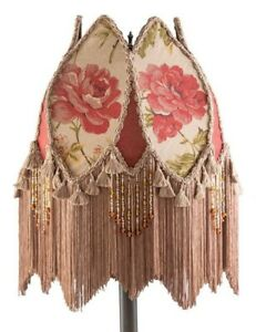 Victorian Trading Co Silk & Cotton Cottage Rose Fringed Lamp Shade Burgundy Tan