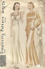 Vintage 1930's Sewing Pattern Divine Elegant Art Deco Long Nightgown Rare B 42""