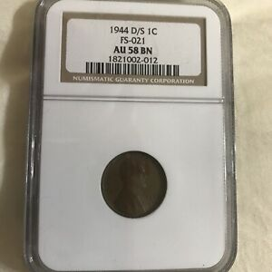 1944-D/S Lincoln Cent MS 58 BN (Fs-021 )