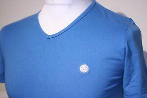 Pretty Green Classic V-Neck T-Shirt - XS/S - Atlantic Blue - 80s Casuals Mod Top