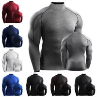 Mens High Neck Thermal Compression Long Sleeve Shirt Winter Base Layer Tops
