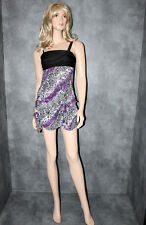 BNWT EVE Purple Black Sequin Evening Party Dress Size 10 Sexy Clubbing Frock