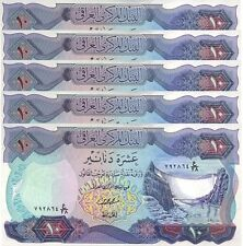 IRAQ 10 DINAR 1973 XF (8/10) 5 PCS LOT P.65