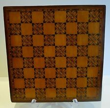 Unusual Antique English Tunbridge or Parquetry Inlaid Chess / Games Board c.1870