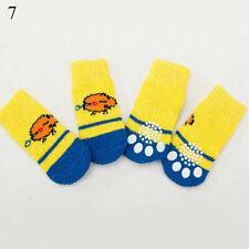 4pcs Hund Socken Rutschfest Griff Slip S M L Katze Haustier Schuhe Hausschuhe  Q