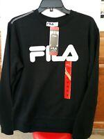 Fila Ladies Heritage French Terry Crew Sweatshirt Black Women Sz M NWT Crewneck