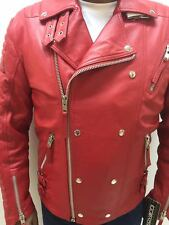 MENS GENUINE LAMBSKIN LEATHER BIKER JACKET MOTORCYCLE STYLE RED (ALL SIZES)