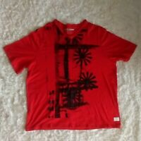 Sean John Red Black V-neck Graphic T-shirt Size XXXL