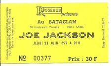 RARE / TICKET BILLET PLACE CONCERT - JOE JACKSON : LIVE A PARIS ( FRANCE ) 1979