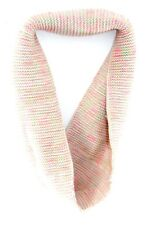 STYLISH WARM LIGHT PINK INFINITY SCARF FLUO PINK/GREEN/ORANGE THREADS (MS28)