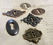 Key Hole Pendants Charms Cabochons Assorted Silver Bronze Copper 6 pieces Locks