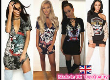 Womans Kings of The Road Long T Shirt Party Mini Dress Vintage Rock Choker Top Houston-88cm Length Loose Casual Hip Printed Yazzi UK 6