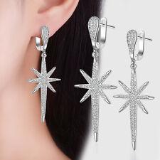 Fashion Solid 925 Sterling Silver Zircon Star Tassel Ear Hoop Dangle Earrings