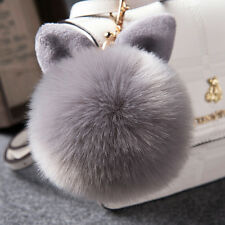 Soft Fluffy Faux Fur Rabbit Ear Pompom Ball HandBag Pendant Car Key Chain