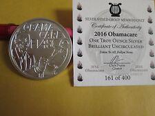 1 oz .999 fine Silver Shield Group 2016 Obama care Fiasco BU round