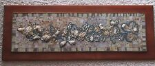 DELORES AND WALT CLOSE BRASS ROCK WOOD SCULPTURE HANGING PANEL MOSAIC VINTAGE
