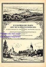 Elektrische Bahn Pöstlingberg bei Linz Reklame 1925 Pöstlingbergbahn Werbung