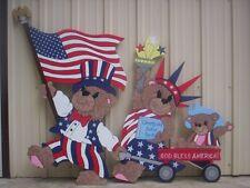 Patriotic Parading Bears *4th of July* Yard Art -2pcs