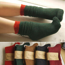 5 Pairs Women Wool Multicolored Yarn Crew Socks Soft Warm Winter Boot Socks