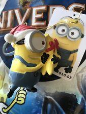 Universal Orlando Despicable Me Carl Minion Santa Hat & Banana Ornament New