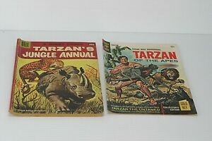 2 Vintage Tarzan Comic Books Dell Gold Key #6 1957, #163 1967