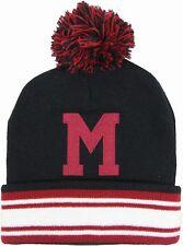 Mitchell & Ness Montreal Maroons Stripe Cuff Pom Pom Beanie Hat - Black