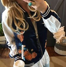 2X NWT Blue Plus Size Embroidered Floral Bomber Track Jacket Lined Coat Women's
