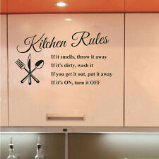 New Kitchen Rules Vinyl Wall Stickers for Home Decor Lettering Art Quote Decals