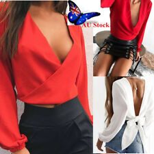 AU Women's Deep V Neck Backless Bow Tie Long Sleeve Shirt Party Club  Blouse Top
