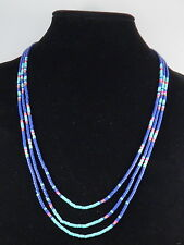 Fossil Brand Rose Goldtone Navy Turquoise Fuchsia Beaded Triple Strand Necklace