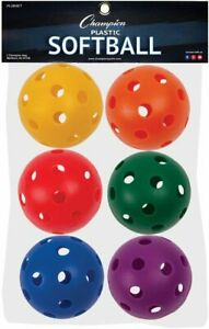 """Champion Sports 12"""" Plastic Official Size Softballs, Assorted Colors, 6 Pack"""
