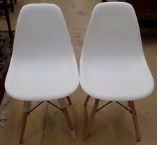 Pair Charles Eames Style DSW Mid Century Modern Chairs Midcentury
