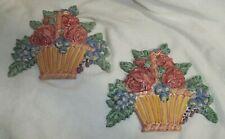 New Listing2 Pc MacKenzie-Childs Flower Market Basket Chair Pottery (Terra Cotta) Tile