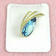 Plated Brooch (Pgp702) Paua Jewelry - Gold