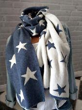 75470d6ada8035 Zwillingsherz ❤ NEU STERNE Wolle Kaschmir Schal Stars blau creme weiß  Cashmere