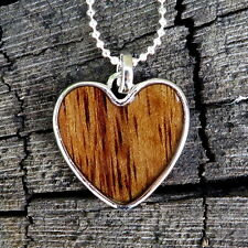 Hawaiian Jewelry Koa Wood Heart Silver Rhodium Plated Brass Pendant BRP1079