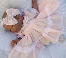 dream romany baby girls  or reborn dolls pink bling dress headband all sizes ava