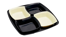 Brown/off White Set of 4 Snack Bowl on a Tray-Dish Serving Tray Dip Nuts Party